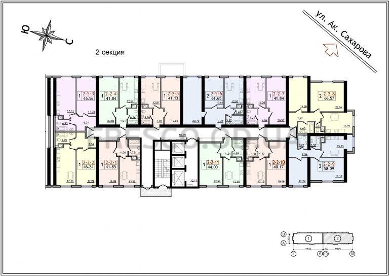 ЖК 54 Жемчужина 2 секция план типового этажа