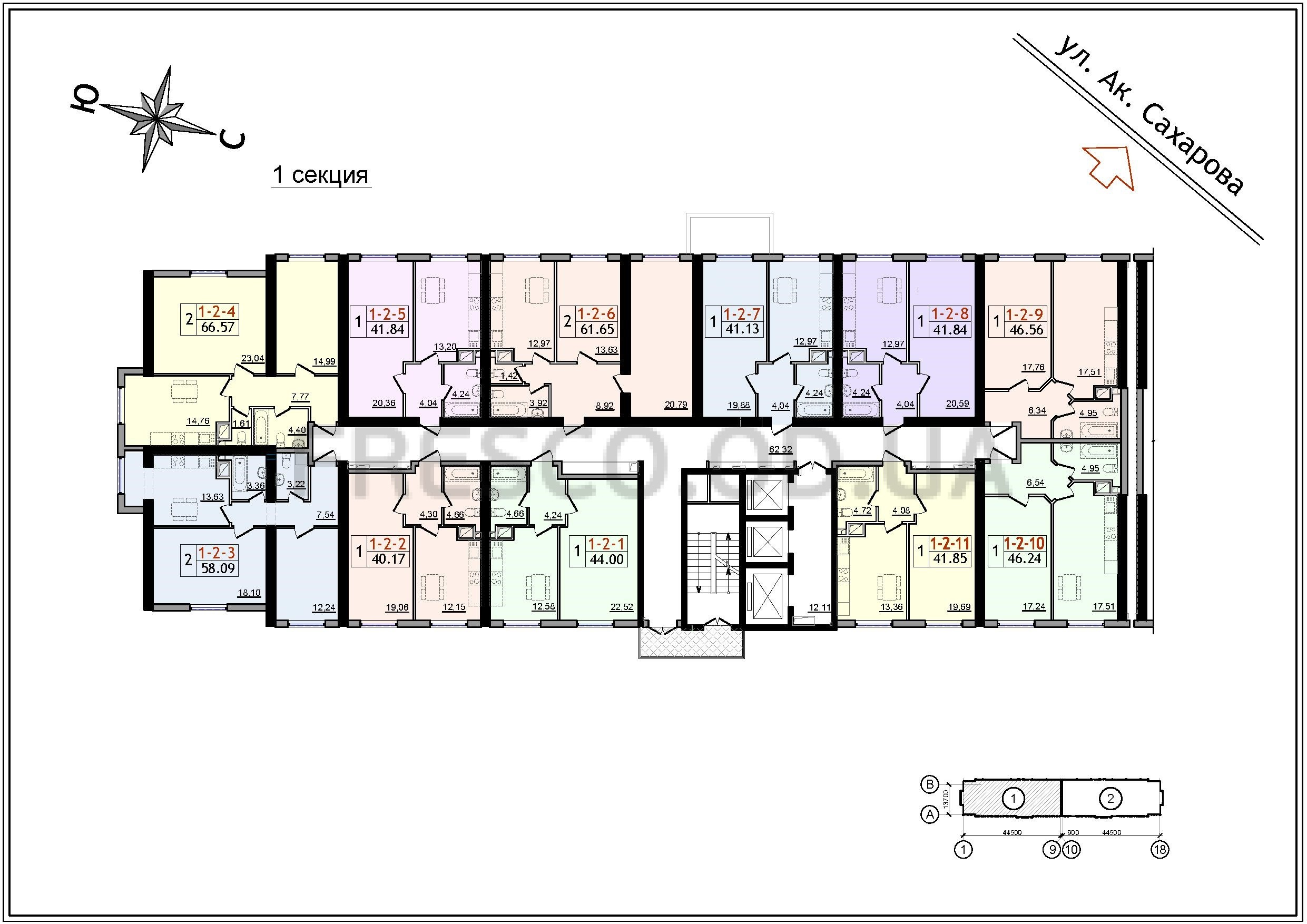ЖК 54 Жемчужина 1 секция план типового этажа