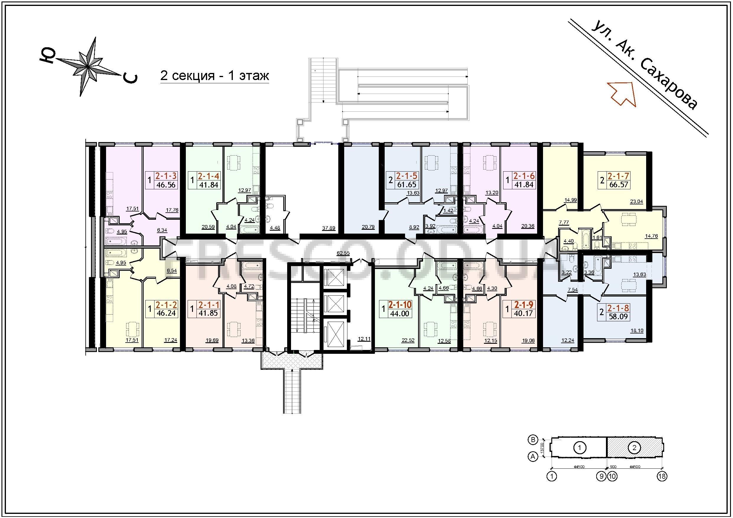 ЖК 54 Жемчужина 2 секция план 1 этажа