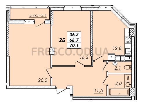Двухкомнатная - ЖК RealPark (Реал Парк)$38752Площадь:69,2m²