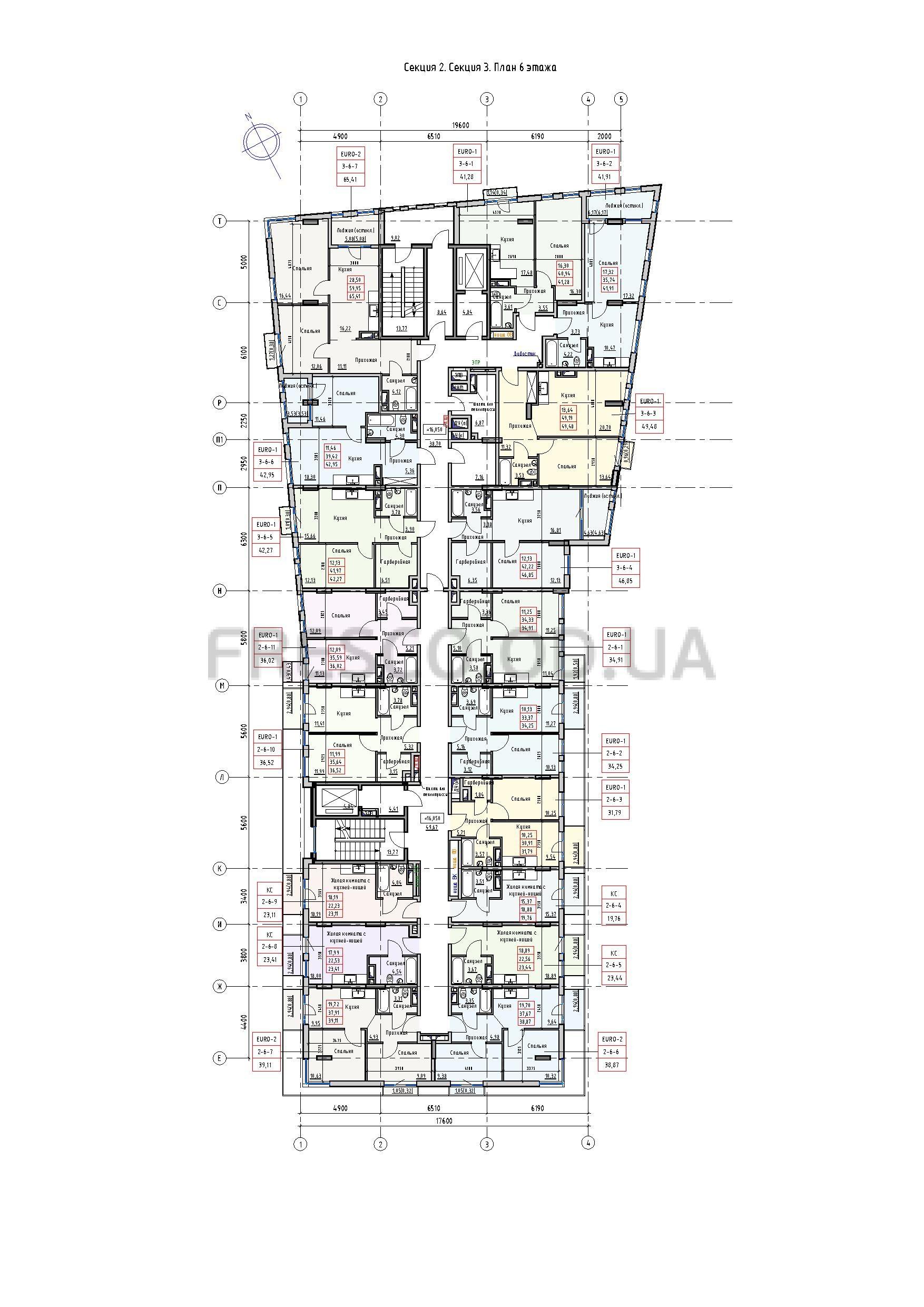 Пространство на Раскидайловской 2,3 секции план 6 этажа