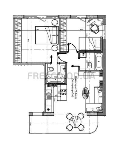 Двухкомнатная - ЖК Graf 2 (Граф 2)ПроданаПлощадь:71m²