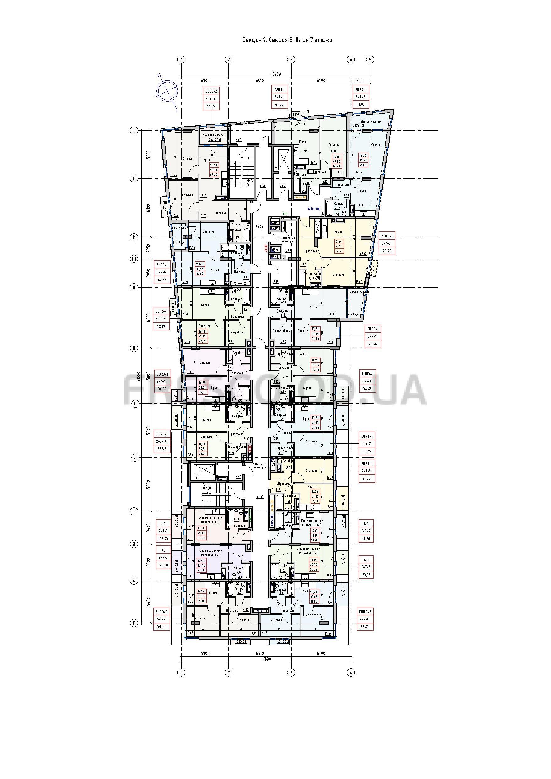 Пространство на Раскидайловской 2,3 секции план 7 этажа