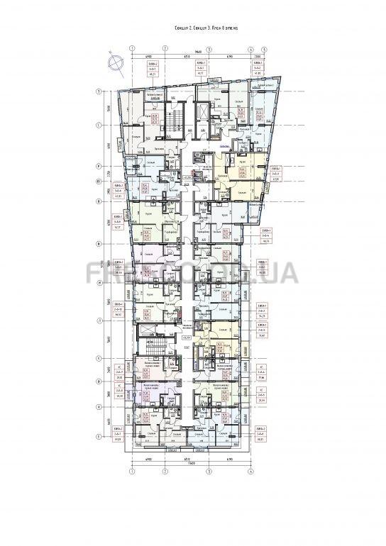 Пространство на Раскидайловской 2,3 секции план 8 этажа