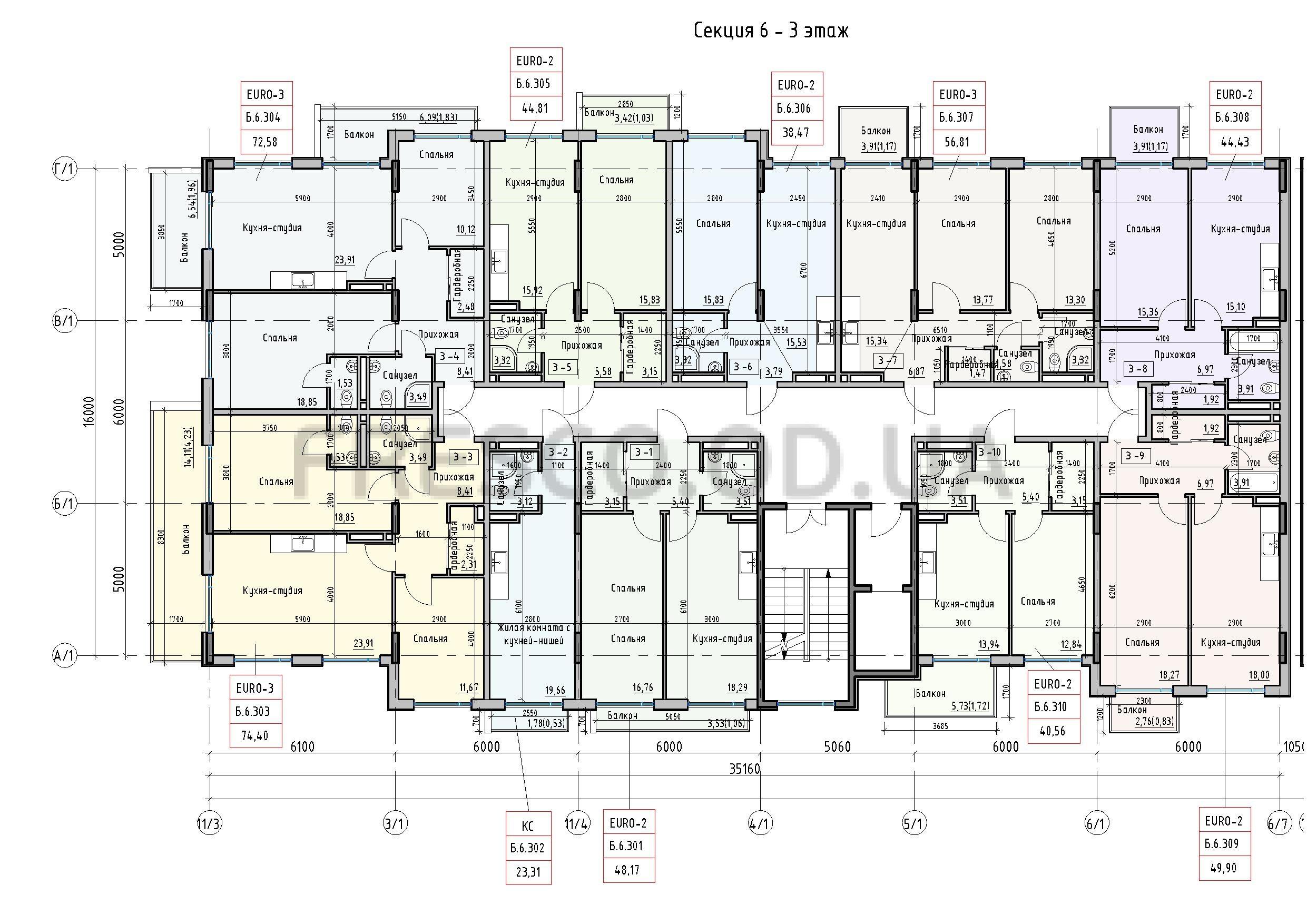 Пространство на Донского 2 Дом 6 секция 3 этаж