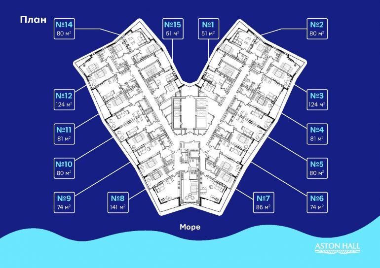 ЖК Aston Hall типовой план этажа