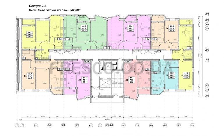 ЖК Прохоровский квартал секция 2.2 план 15 этажа
