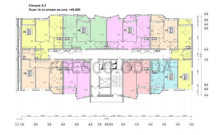 ЖК Прохоровский квартал секция 2.2 план 16 этажа