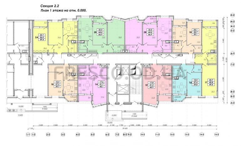 ЖК Прохоровский квартал секция 2.2 план 1 этажа