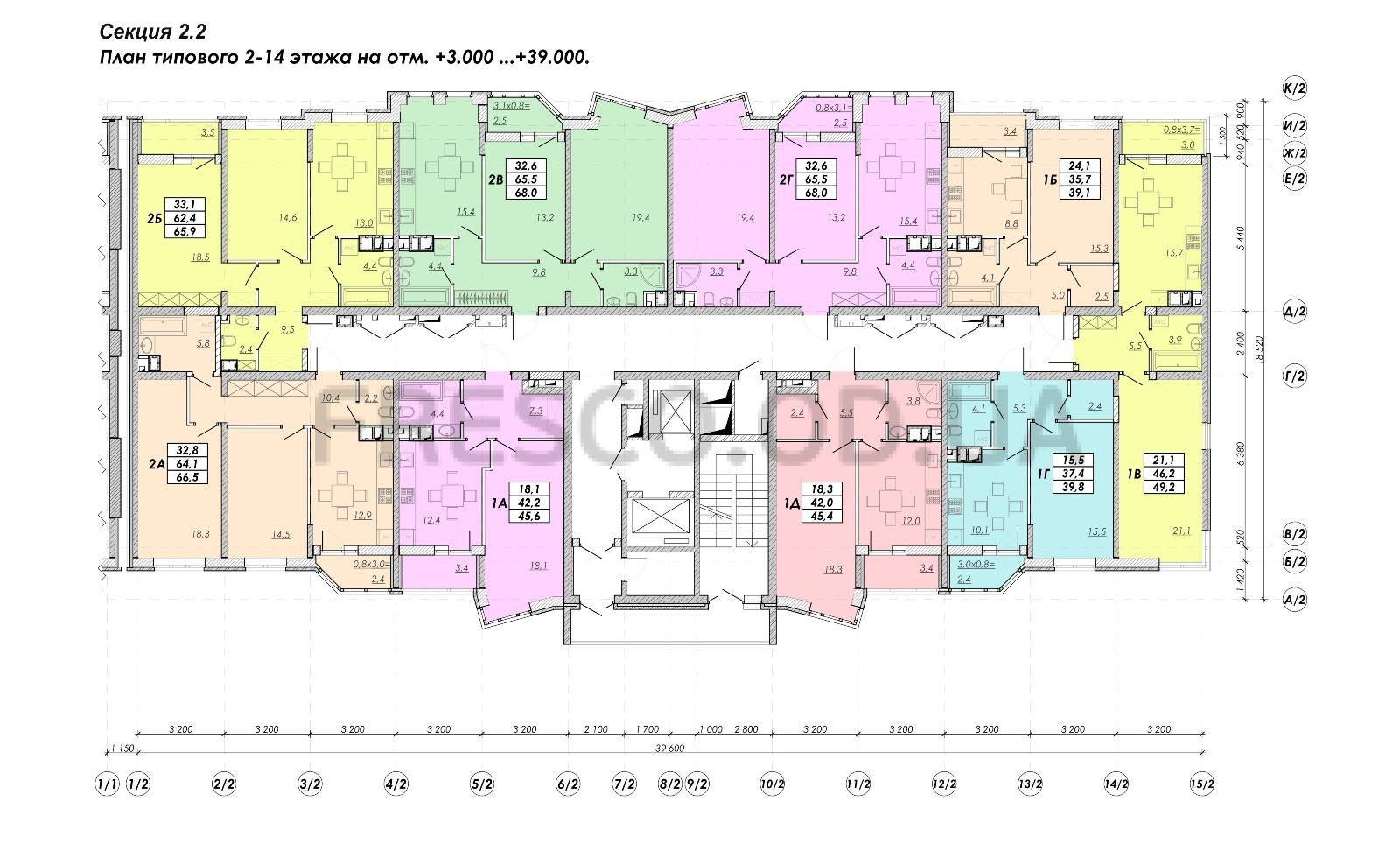ЖК Прохоровский квартал секция 2.2 план 2-14 этажа