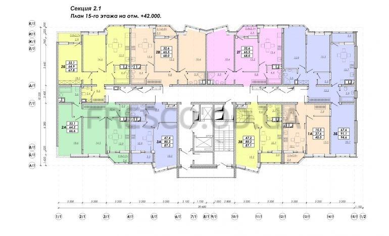 ЖК Прохоровский квартал секция 2.1 план 15 этажа