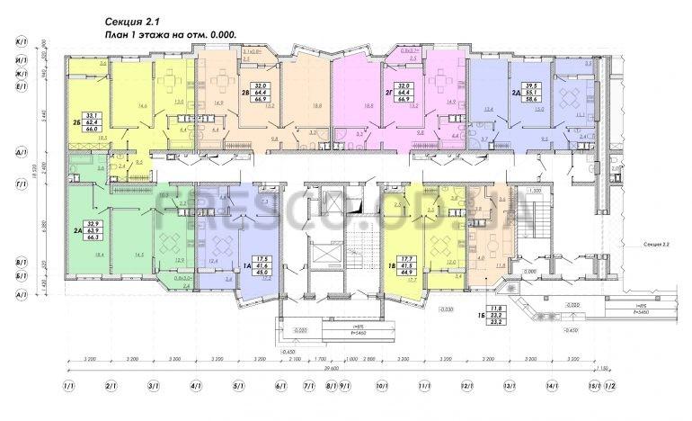ЖК Прохоровский квартал секция 2.1 план 1 этажа