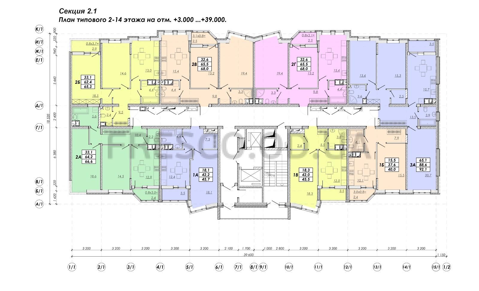 ЖК Прохоровский квартал секция 2.1 план 2-14 этажа