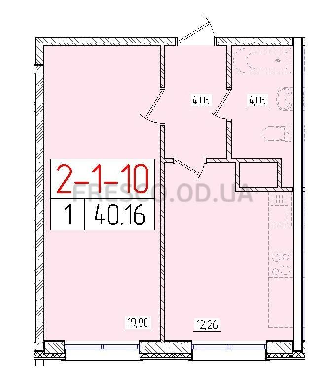 Однокомнатная - ЖК 56 Жемчужина$24899Площадь:40,16m²