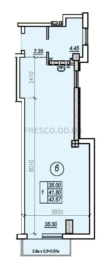 Однокомнатная - ЖК Apart Royal на ул. Малая Арнаутская, 71$49070Площадь:42,67m²
