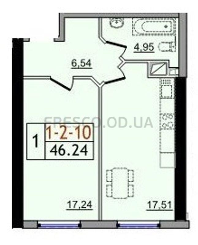 Однокомнатная - ЖК 54 Жемчужина$28669Площадь:46,24m²