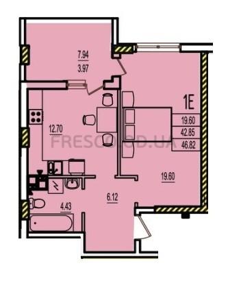 Однокомнатная - ЖК Розенталь (RosenTal)$24815Площадь:46,82m²