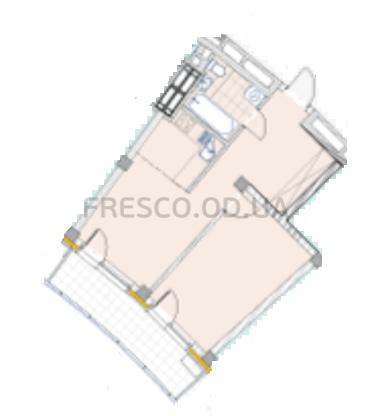 Однокомнатная - ЖК La Mer (Ла Мер)$76890Площадь:51,26m²
