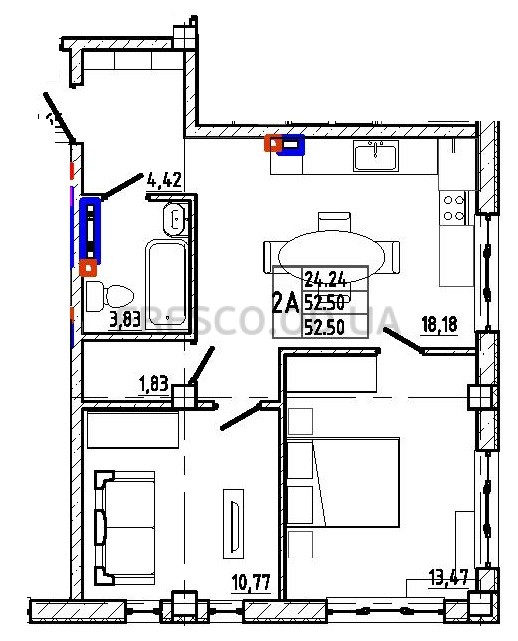 Двухкомнатная - КД Graf (Граф) на Педагогической$54338Площадь:52,5m²