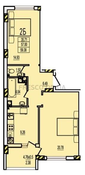 Двухкомнатная - ЖК Розенталь (RosenTal)$28502Площадь:59,38m²