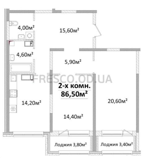 Двухкомнатная - Будова Гагарина, 9 (Пивзавод)$86500Площадь:86,5m²