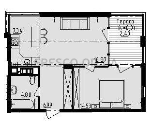 Однокомнатная - ЖК Manhattan (Манхэттен)$49253Площадь:52,97m²