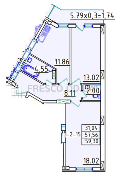 Двухкомнатная - ЖК Континент$34394Площадь:59,3m²
