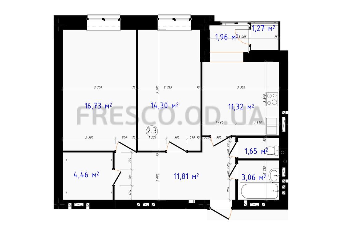 Двухкомнатная - ЖК Чайка$41970Площадь:66,56m²