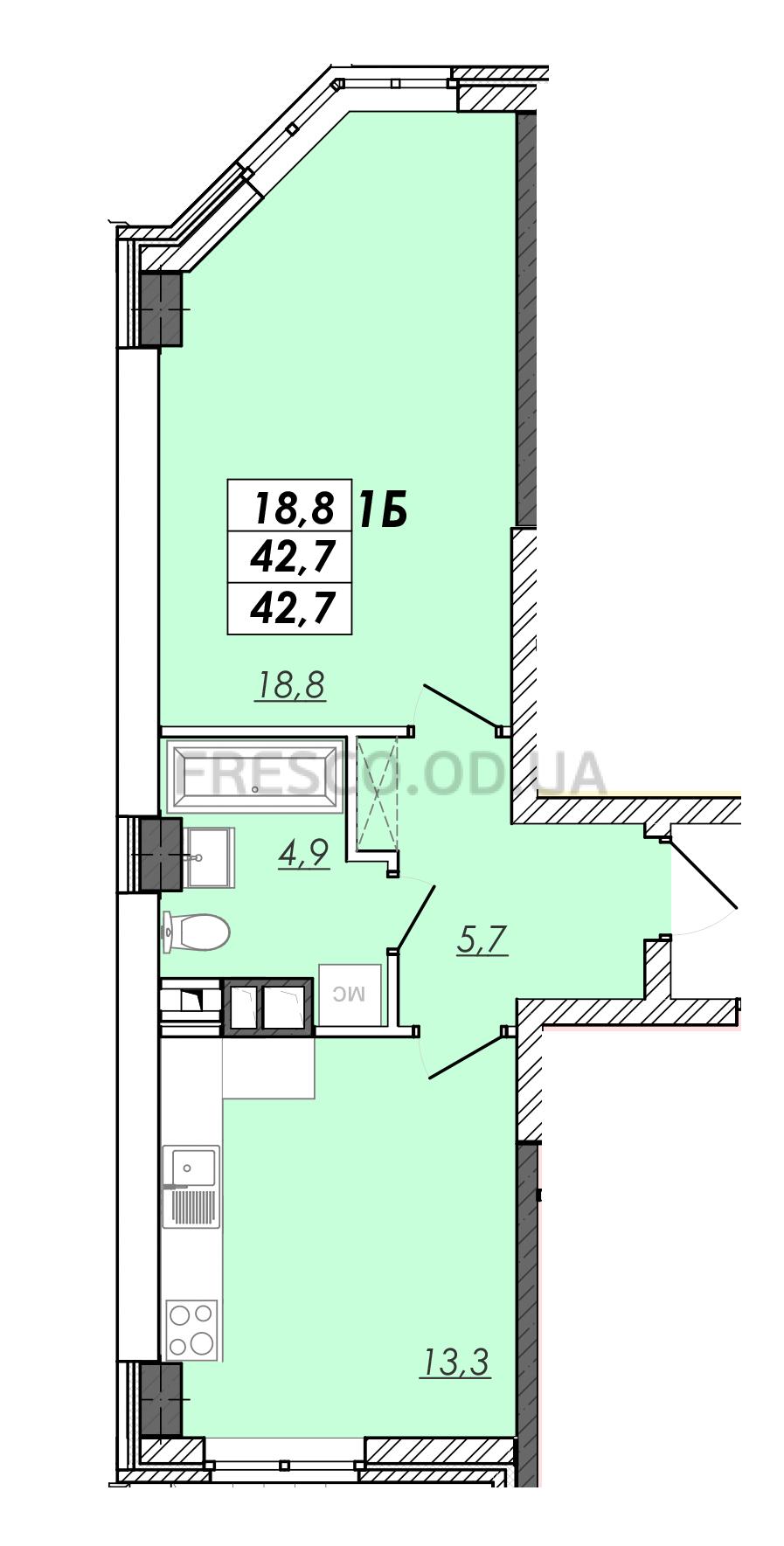 Однокомнатная - ЖК RealPark (Реал Парк)$23912Площадь:42,7m²