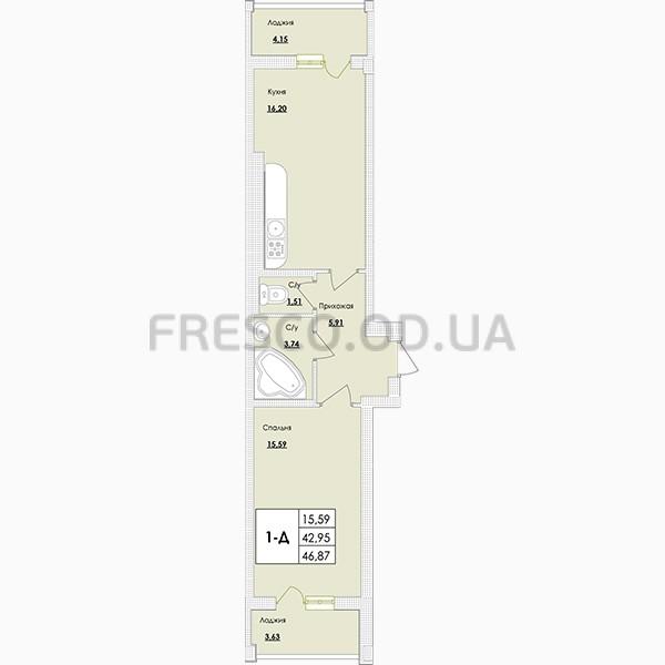 Однокомнатная - ЖК Парк Совиньон$34923Площадь:47,84m²