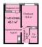 Однокомнатная - ЖК Омега$38456Площадь:43,7m²