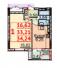 Однокомнатная - ЖК Парковый-2$18714Площадь:34,24m²